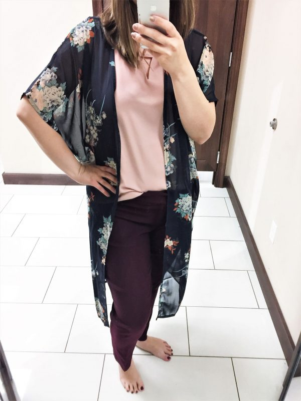 Kimono and burgundy pants outfit from Versona - JK Style