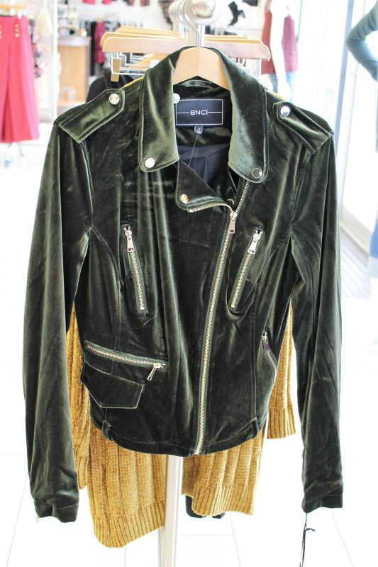 Green velvet biker jacket from Versona - JK Style