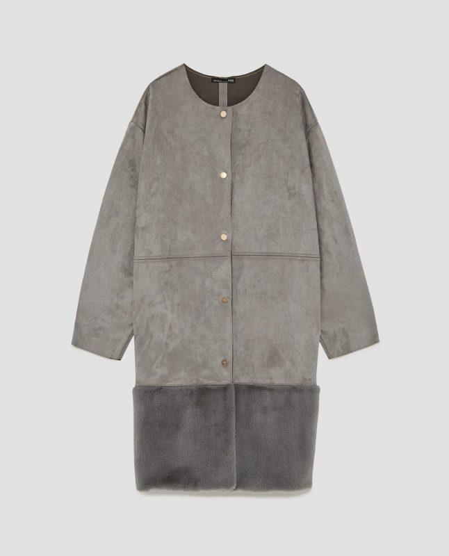 Zara contrasting faux suede coat