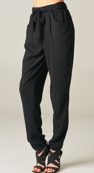 Black cuffed trouser pants