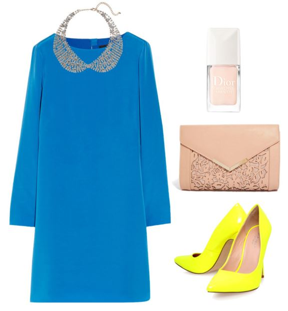 Blue Dress with Collar necklace