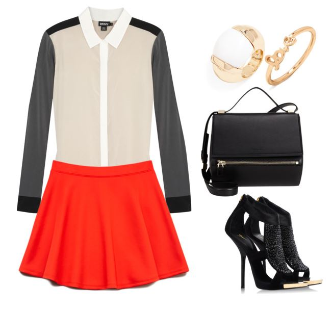 Orange skirt with rings