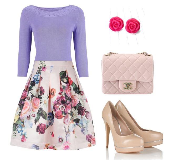purple sweater floral skirt