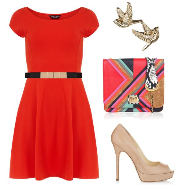 red dress with fun accessories