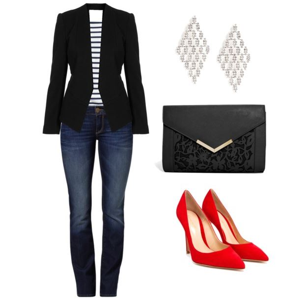 jeans and tee with blazer and heels