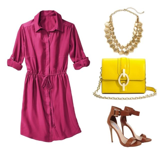 how to style a shirt dress with bold color