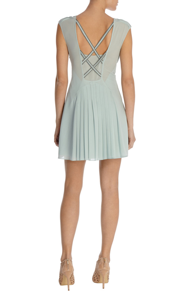 karen millen embellished pleated dress back