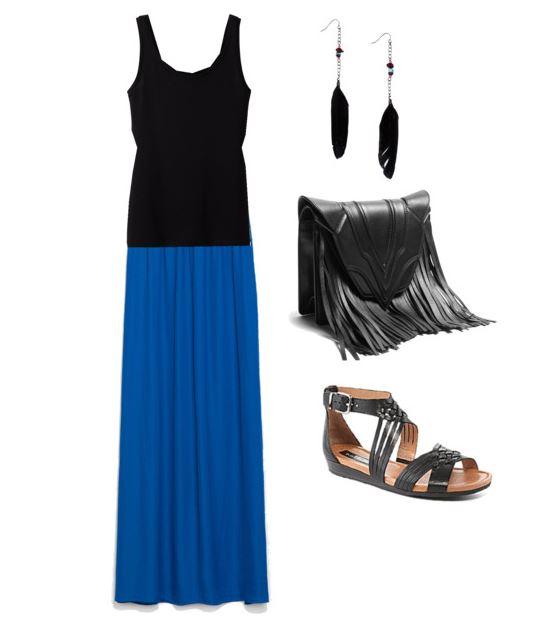 zara blue maxi skirt 1