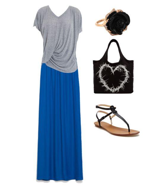 zara blue maxi skirt 5