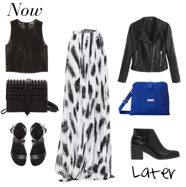 black and white maxi skirt now and later
