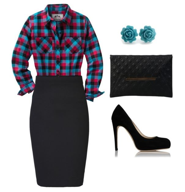 plaid with pencil skirt