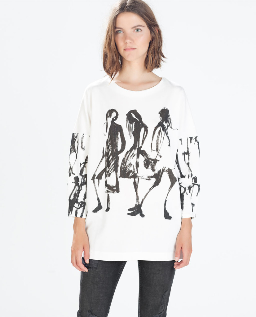 zara printed sweatshirt