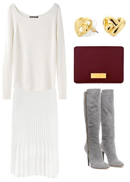 white sweater and skirt