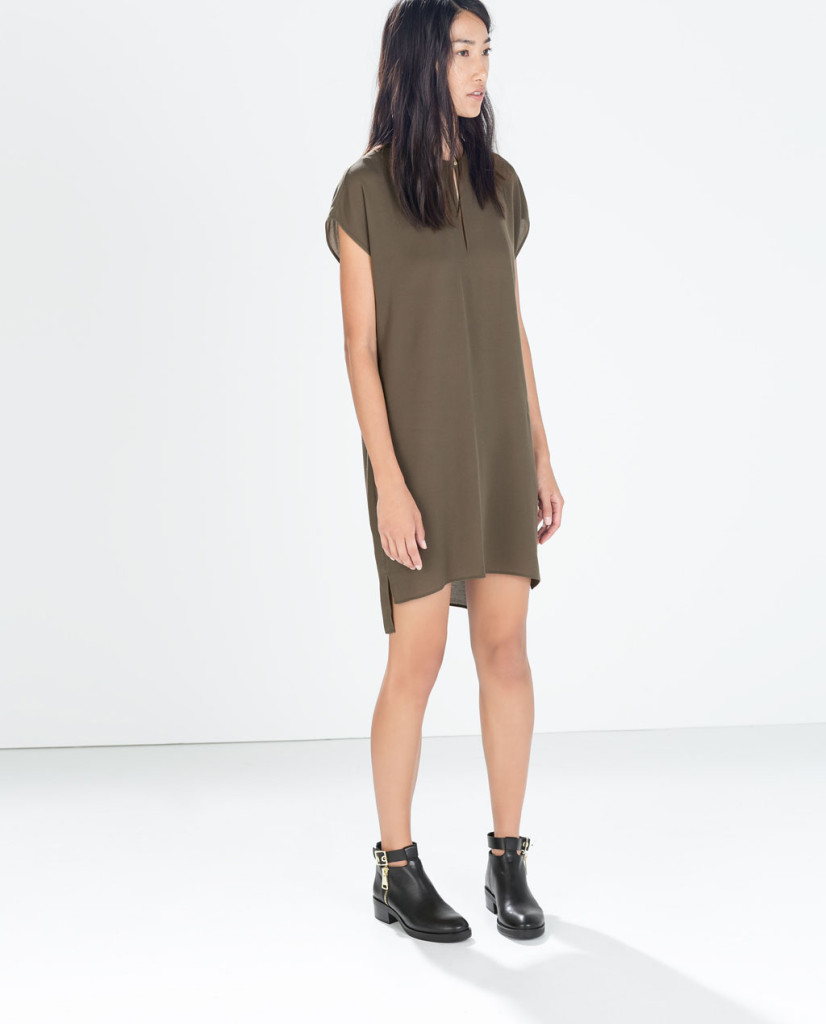 zara dress with asymmetric hem