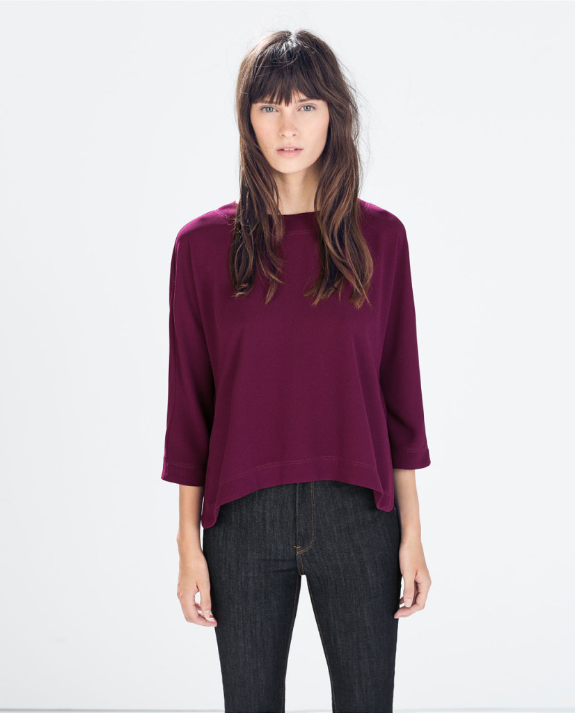 zara round neck top with kimono sleeves