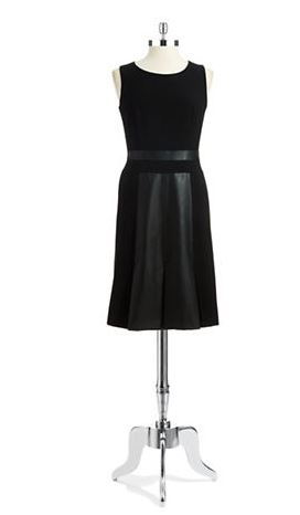 faux leather accented a-line dress