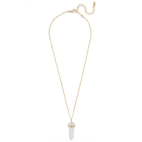 single gemstone necklace white opal