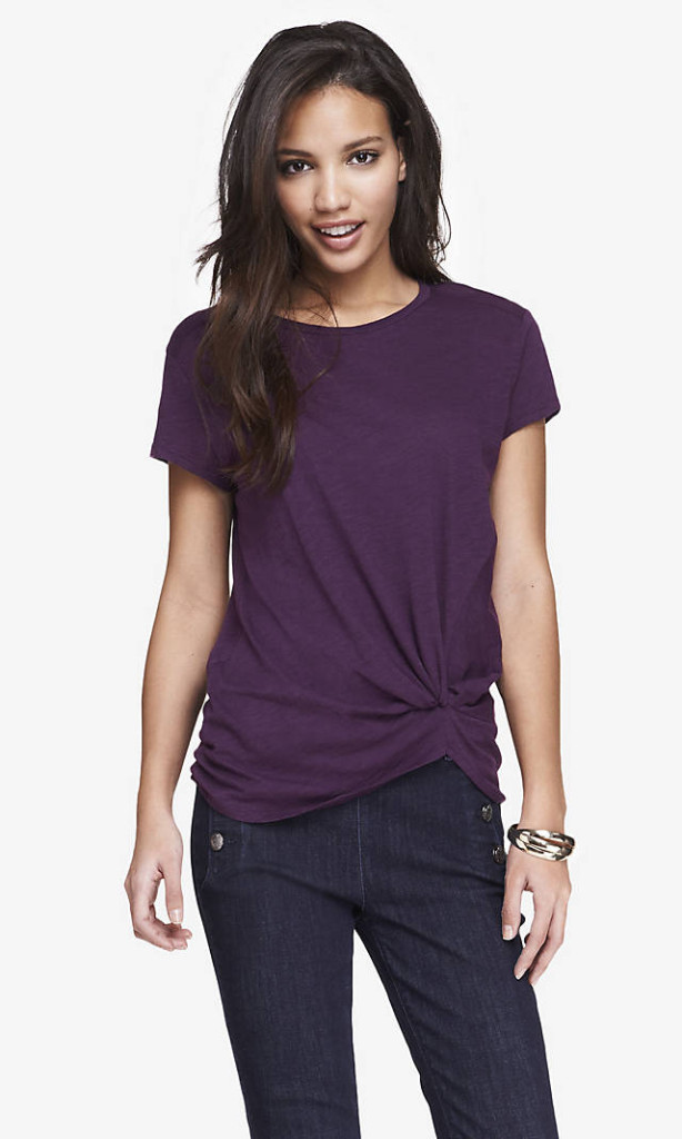 knot front knit tee
