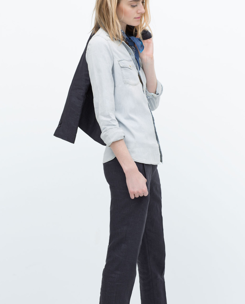 zara bleached denim shirt