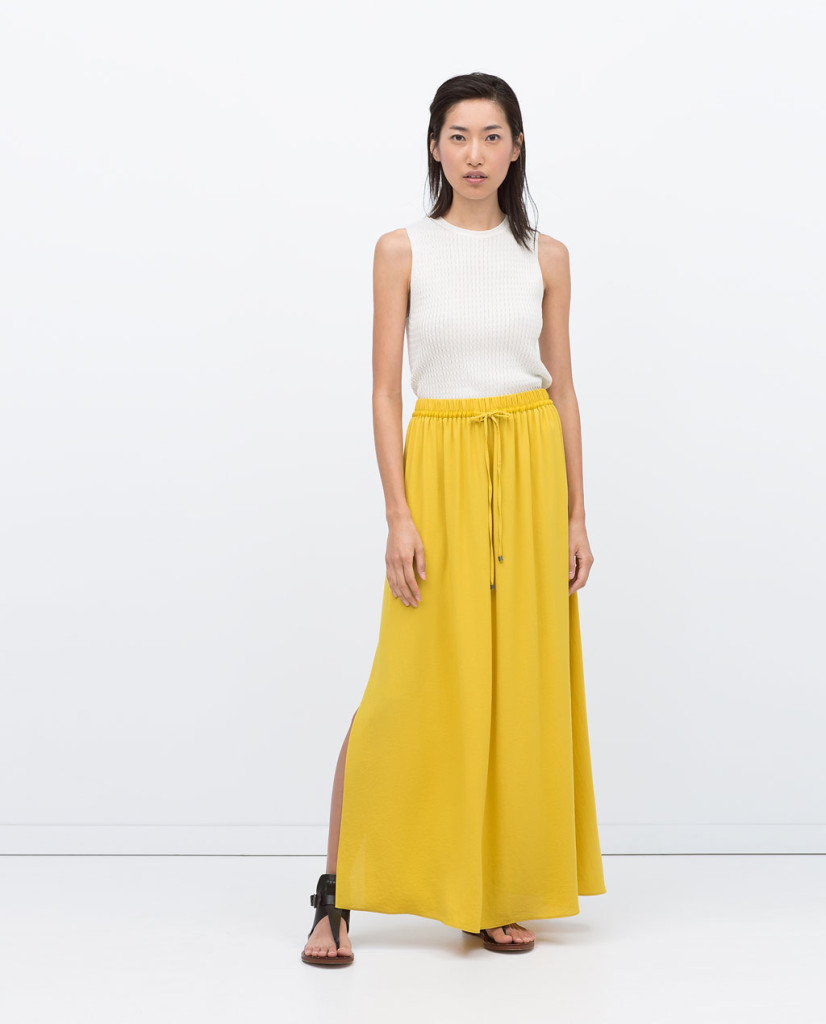 zara drapey long skirt