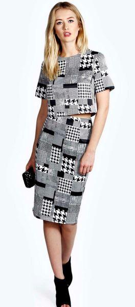 boo hoo dogtooth skirt set