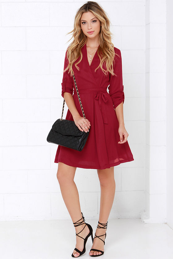 candy wrapper wine red long sleeve wrap dress
