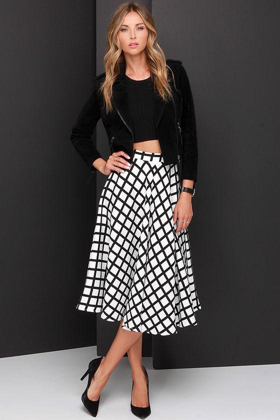 grid and wear it black and ivory grid print midi skirt