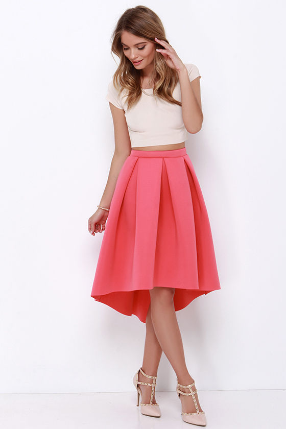 high seas low tide coral high-low padded midi skirt