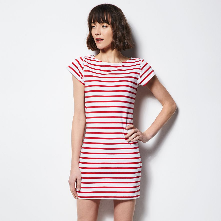 milly red white striped dress
