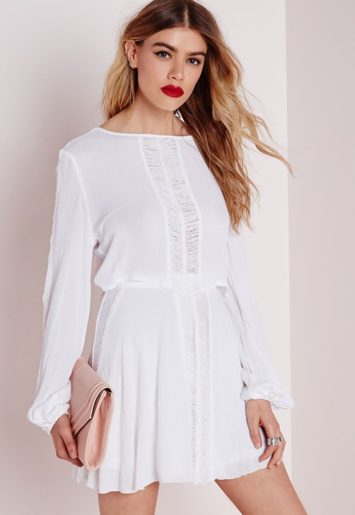miss guided white skirt and top