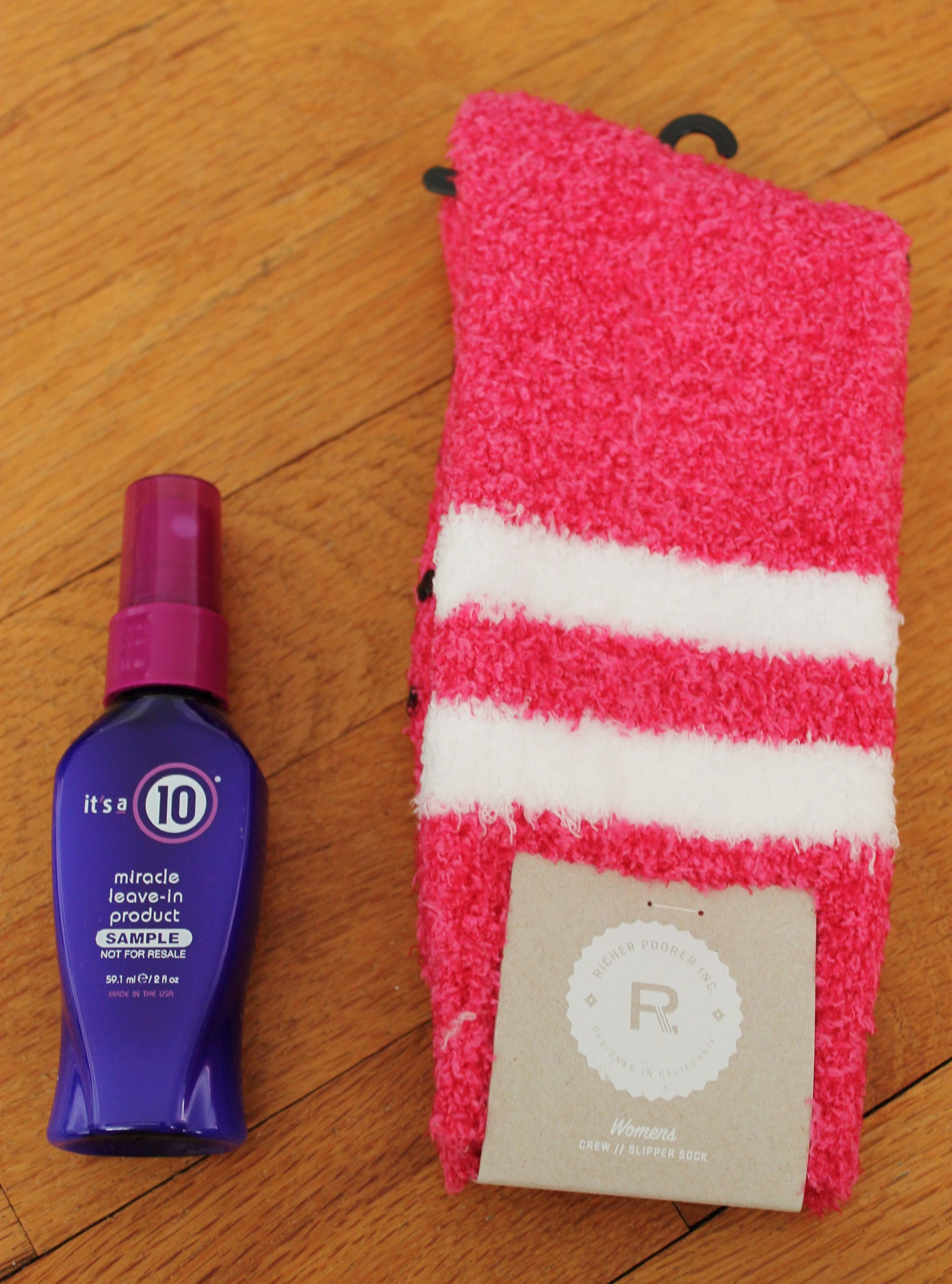 Popsugar Must Have October box review It's a 10 leave in product and Hope Slipper Socks
