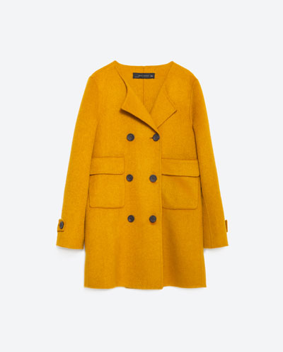 zara yellow coat