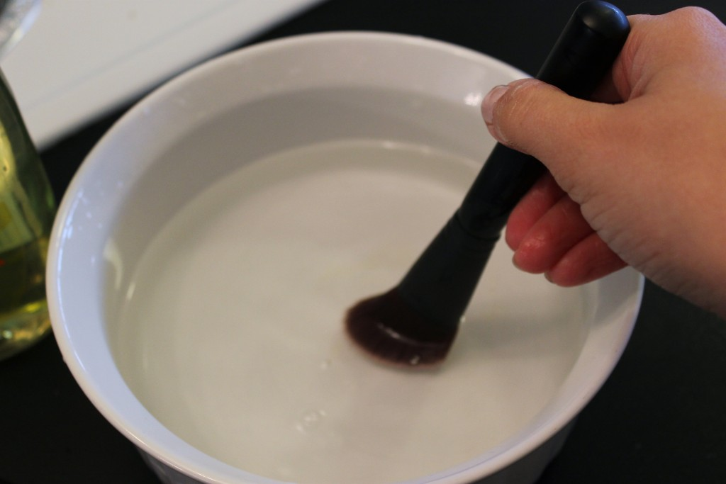 clean makeup brushes swirling brushes