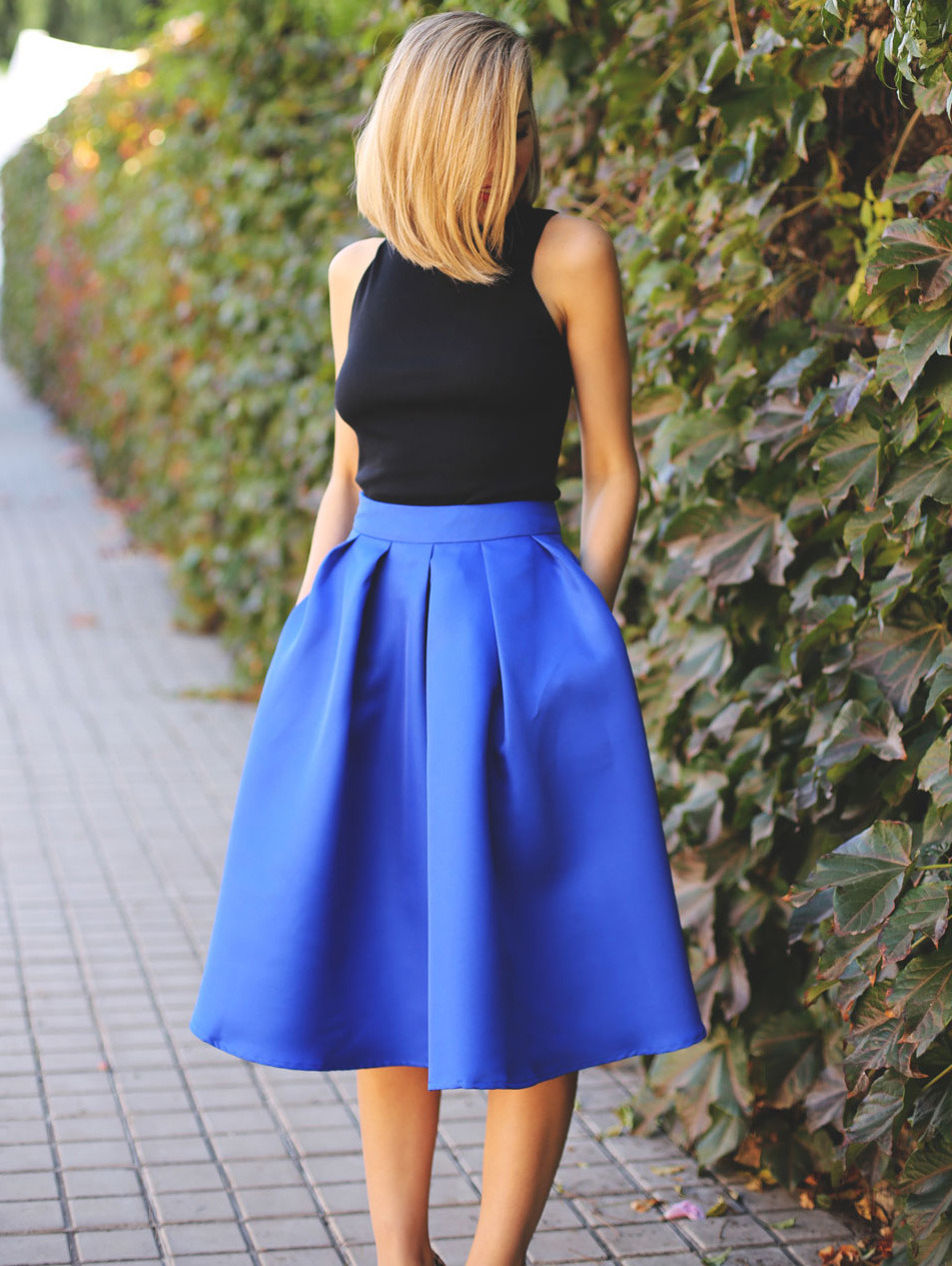 shein blue pleated skirt