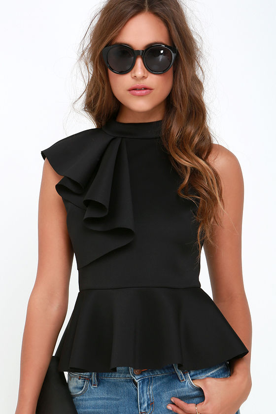 forever more black peplum top lulu's