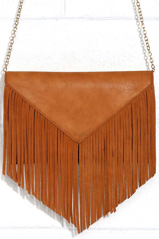 fringe benefits tan clutch lulu's