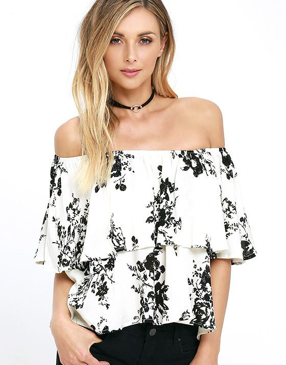 lulu's heron heights black and cream print off-the-shoulder top