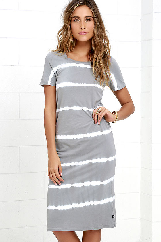 obey ebba grey tie-dye midi dress lulu's