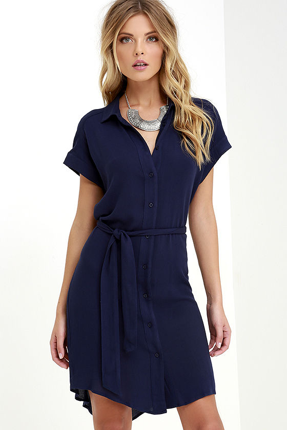 school of thought navy blue shirt dress lulu's