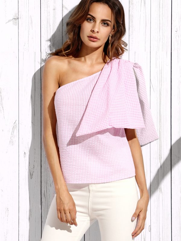 August Wishlist pink plaid one shoulder blouse