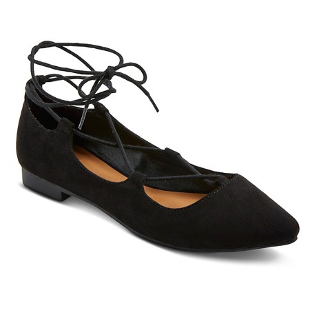 Target style black lace up flats shoes