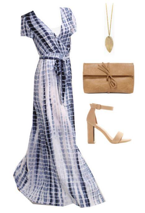 blue tie dye dress styling