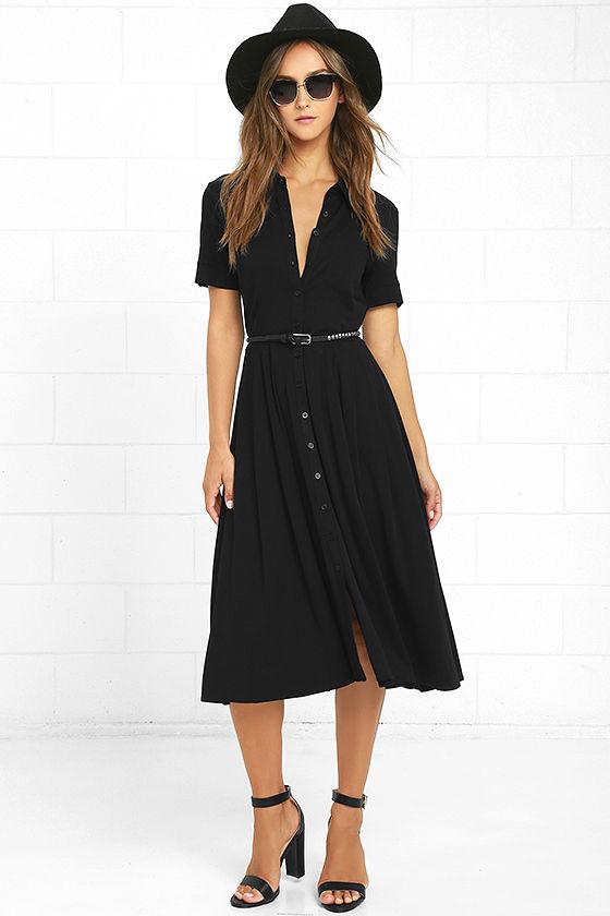 Lulus Tango in the Night Black Midi Dress