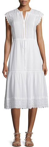 Rebecca Taylor Sleeveless Pintucked Lace-Trim Midi Dress
