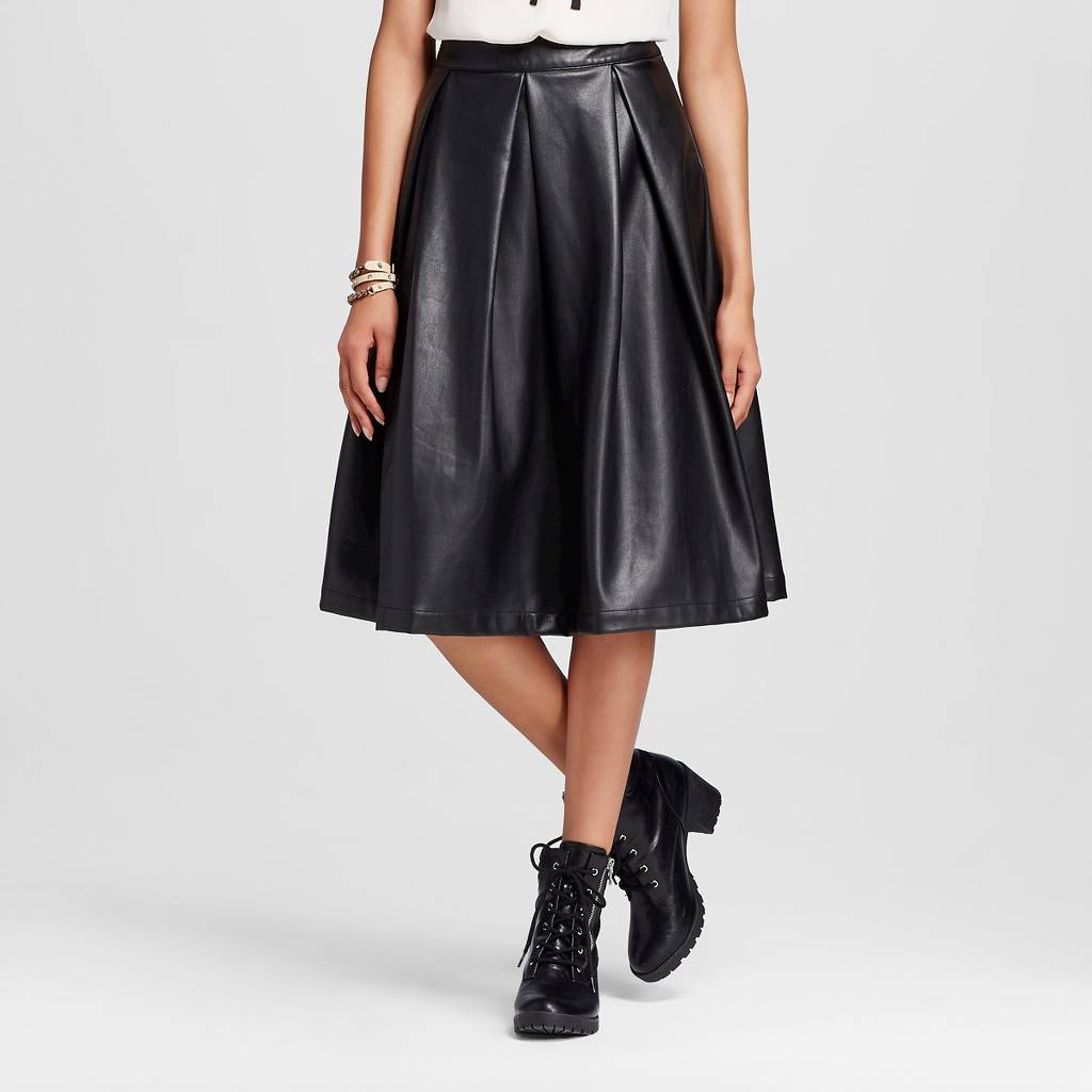 Target Who What Wear Birdcage Faux Leather Skirt