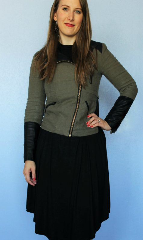 Friday Favorites Cents of Style Long Sleeve Swing Dress in black with military jacket
