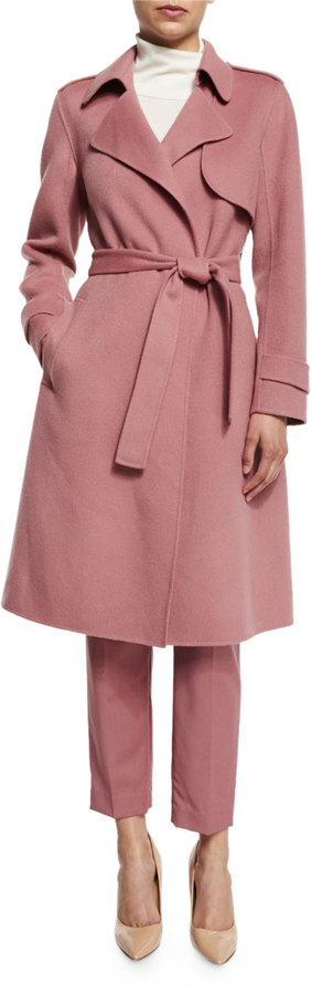 Theory Oaklane New Divided Open-Front Trench Coat in Pink Willow