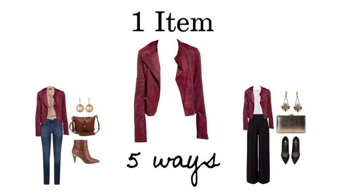 1 Item 5 Ways Burgundy GB Faux Suede Moto Jacket