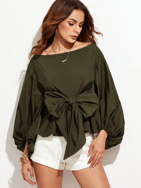 Under $40 Stylish Gift Guide SheIn Lantern Sleeve Knot Bow Wasit Blouse