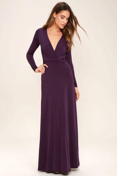November Wishlist Chic-Quinox Plum Purple Long Sleeve Maxi Dress